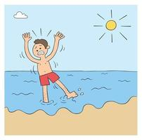 Cartoon Man Can Not Swim and is Afraid of the Sea Vector Illustration