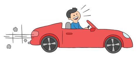 Cartoon Man Driving Luxury Convertible Car Vector Illustration