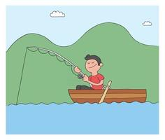 Cartoon Man Fishing With Hook In Boat Lake or Sea Vector Illustration