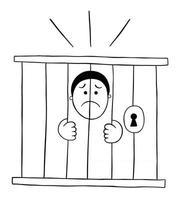 hombre de dibujos animados está en la cárcel y muy triste ilustración vectorial vector