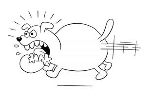Cartoon Angry and Big Dog Running Vector Illustration