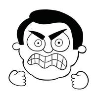 Cartoon Man is Very Angry Vector Illustration