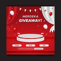 Indonesia's independence day giveaway contest social media post template with podium and balloons vector
