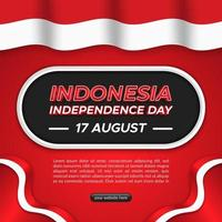 Indonesia's independence day square background template with flag vector