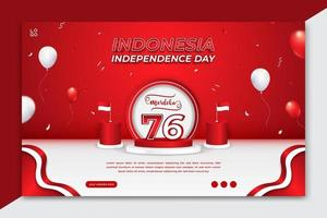 17 August, Indonesia's independence day horizontal banner template with balloons and confetti vector