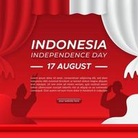 Indonesia's independence day square background template vector