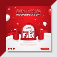 Editable Indonesia's independence day social media banner template with balloons and ribbon vector