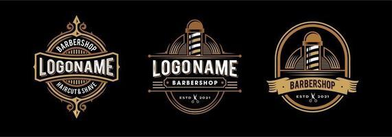 logotipo de barbería en estilo decorativo victoriano vintage y hipster. colección de vector de logotipo de insignia de barbero clásico retro
