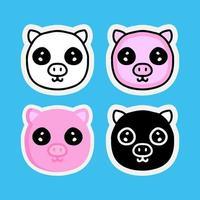 set of kawaii pig cartoon. mascot illustration for sticker or apparel vector