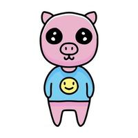 kawaii pig cartoon wearing clothing with emoji picture. Design illustration for sticker and apparel vector