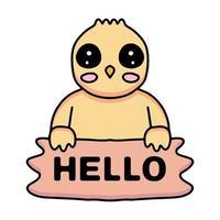 kawaii chicks cartoon holding hello sign design vector