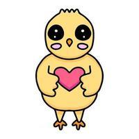 kawaii chicks cartoon hug a heart. Design vector illustration