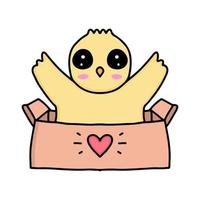 kawaii chicks cartoon out of the box design illustration vector