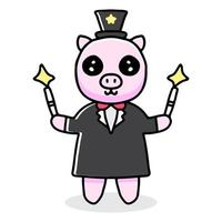 adorable magician pig cartoon. illustration for stickers and apparel vector