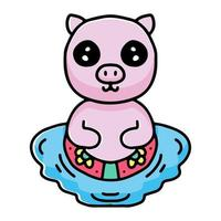 summer pig cartoon swimming with rubber ring. illustration for stickers and apparel vector