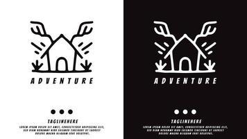 vintage house with deer antlers. illustration for t shirt, poster, logo, sticker, or apparel merchandise. vector