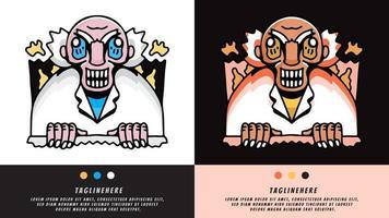 crazy professor in retro style. illustration for t shirt, poster, logo, sticker, or apparel merchandise. vector