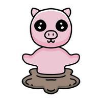 Juego de dibujos animados de cerdo kawaii en un barro. Ilustración de diseño para calcomanías y prendas de vestir. vector