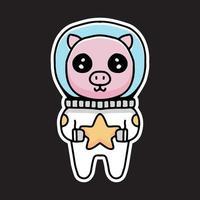 kawaii pig astronaut holding stars cartoon. Design illustration for sticker and apparel vector