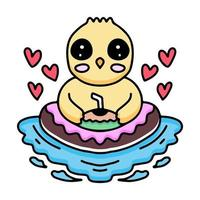 kawaii chicks cartoon relaxing in summer with donut and coconut vector