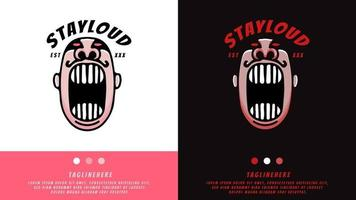 retro man screaming with stay loud typography. illustration for t shirt, poster, logo, sticker, or apparel merchandise. vector