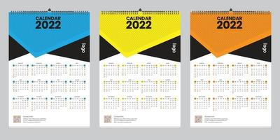 Single wall calendar 2022 template design with vector. Planner diary with Place for Photo. vector