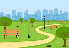 City Park Illustration For People Doing Sport, Relaxing, Playing Or Recreation With Green Tree And Lawn. Scenery Urban Background vector