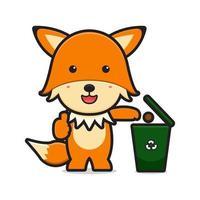 Cute fox throw trash in dump cartoon icon vector illustration