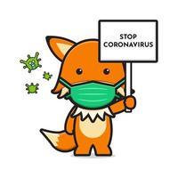 lindo zorro con máscara detener corona virus icono de dibujos animados ilustración vectorial vector
