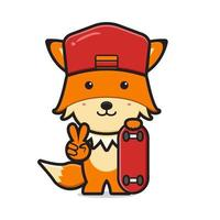 Cute fox playing skateboard cartoon icon vector illustration