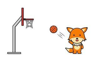 Cute fox playing basketball cartoon icon vector illustration