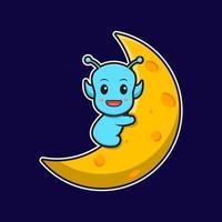 Cute alien sit on the moon cartoon vector icon illustration