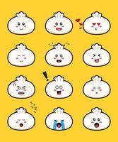 conjunto de ilustración de icono de vector de dibujos animados lindo dimsum