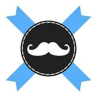 Prostate cancer awareness symbol information. Men support badge label with blue ribbon, mustaches and badge pin flat style design vector illustration isolated on white background.