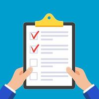 Hands hold clipboard with claim form on it, paper sheets, check marks tick OK in the circle on the list isolated on light blue background vector illustration. Pointer index finger touch paper sheet