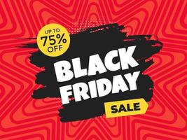 Black friday sale discount clearance banner with brush stroke template concept vector