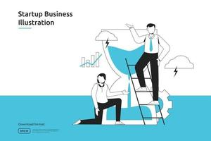 time management and business planing schedule concept with businessman and sand hourglass illustration. startup launch and investment venture. teamwork metaphor design web landing page or mobile vector