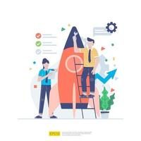 Startup employees teamwork. men and women scenes with spaceship for launching new business. illustration concept of development,  brainstorming, innovation, marketing strategy and grow the idea vector