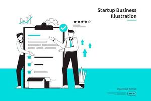 work management task and business planing concept with businessman and checklist illustration. startup launch and investment venture. teamwork metaphor design web landing page or mobile vector