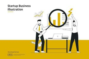research, analyst and monitoring business investment or financial adviser concept. startup launch and teamwork metaphor design web landing page or mobile vector
