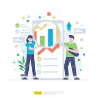 Startup employees teamwork. men and women scenes at office working and make some planning. Business concept illustration of brainstorming,  meeting, negotiation, talking to each other vector