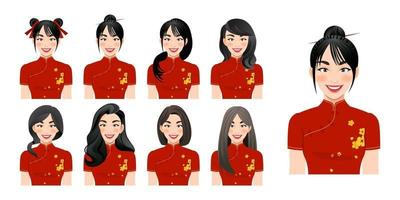 Chinese girl wear cheongsam with different hairstyle set isolated in cartoon character design vector illustration