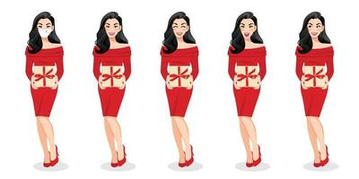 Happy new year and Merry Christmas with excited surprised woman in red sweater dress holding present box on the white background cartoon character design vector