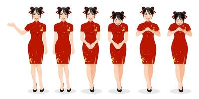 Chinese girl in mandarin gown with Chinese new year festival cartoon character on the white background vector illustration