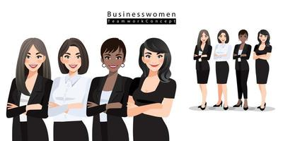 Businesswomen stand with arms folded together on white background. Teamwork concept,  cartoon character design vector illustration