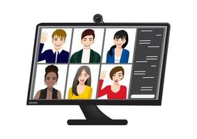 Video conference. Group video call. Colleagues communicate using a computer. vector
