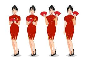 Chinese woman holding red envelopes in traditional style clothes set different gestures isolated vector illustration