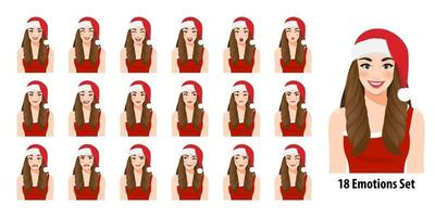 Christmas girl in red dress and christmas santa hat with different facial expressions set isolated in cartoon character style vector illustration