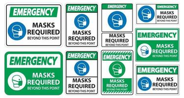 Emergency Masks Required Beyond This Point Sign Isolate On White Background,Vector Illustration EPS.10 vector