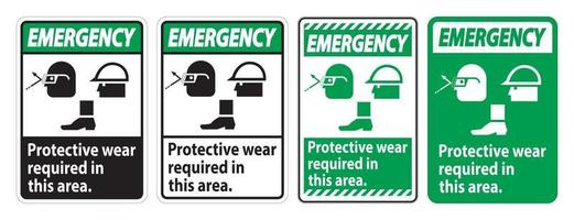 Emergency Sign Protective Wear Is Required In This Area.With Goggles, Hard Hat, And Boots Symbols on white background vector